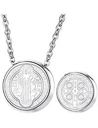 97302be261e FaithHeart Medalla Milagrosa de San Benito de Nursia Collar Colgante de  Acero Inoxidable Joyería Religiosa para
