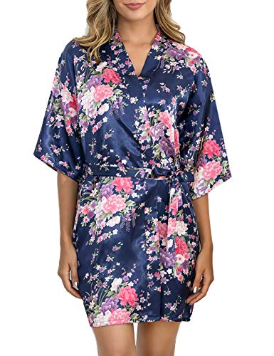 Sykooria Damen Morgenmantel Satin Floral Kimono Damen Bademantel Kurz Robe V Ausschnitt Nachthemd Nachtwäsche mit Gürtel für Bride Bridesmaid Braut Hochzeit Party - Kurze Für Roben Frauen Seide Kimono