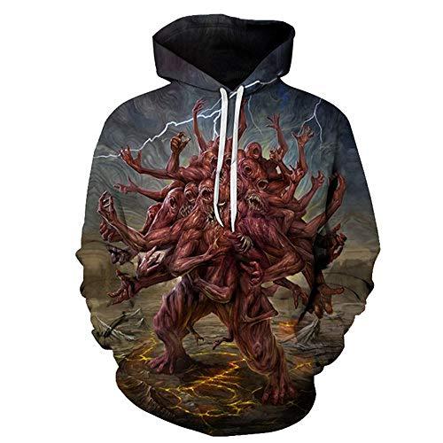 zysymx Schädel Hoodies Sweatshirts Herren Hoodie 3D Trainingsanzug Herrenbekleidung Herren Sweatshirt Pullover Mäntel Hallowee