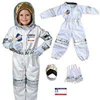 Yalla Baby Kids Astronaut Costume for Kid Boys and Girls, Pretend Dress up Role Play 5pcs Set (3-8 Years, 80-110cm) (Astronaut)