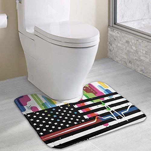 Hoklcvd Thin Blue&Red Line Flag Heartbeat U-Shaped Toilet Floor Rug Non-Slip Toilet Carpets Shower Mat