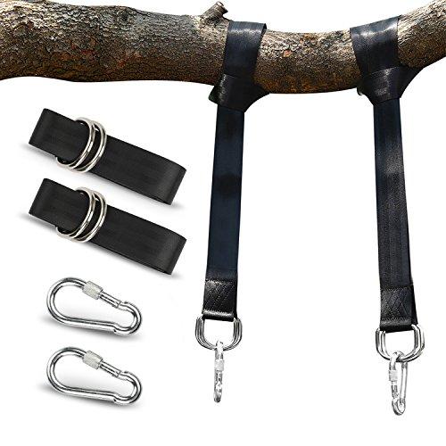 POOTACK Baum Swing Hanging Gurt Kit Hält 800kgs / 3520lb, Polyester-Faser Riemen mit 2 Safety Lock Karabiner Haken & 2 langlebige D-Ring für Baum Swing & Hängematten, mit Carry Pouch (300CM) -