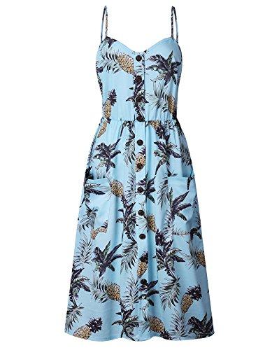 Ärmellos Sommerkleid Damen Lang Strandkleid V-Ausschnitt Blumenmuster Boho lang Maxi Kleid Freizeitkleid L Licht - Maxi-kleider Für Blau Licht Frauen