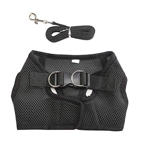 Mesh Breathable Protective Vest Harness Harness Collar Walking Leash-Black S ()