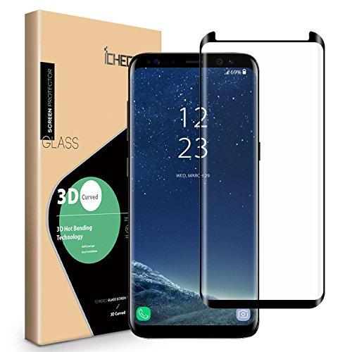 ICHECKEY 3D gewölbt Panzerglas für Samsung Galaxy S8 Plus Schutzfolie aus Echtglas Vollbild Glasfolie Komplett Selbstklebende Panzerfolie Fullscreen Schutzglas kleiner als das Display(Schwarz)