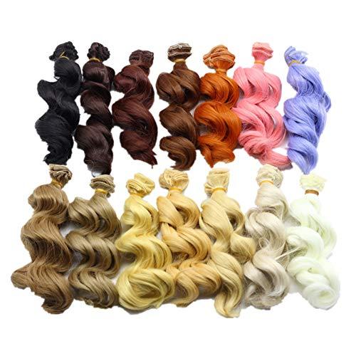 Fully Puppen 2stk. Perücke Gewelltes Lockiges Haar Perücke Haarperücke Haarteil Kostüm Für BJD Puppen (Diy Barbie Kostüme)