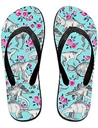 BYDGXGXD Tiny Dinosaurios y Rosas Flip Flops Goma Sandalias Playa Zapatillas para Mujer y Hombre