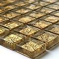 Glasmosaik Fliesen 23x23x8mm Gold Metall von Mosafil bei TapetenShop