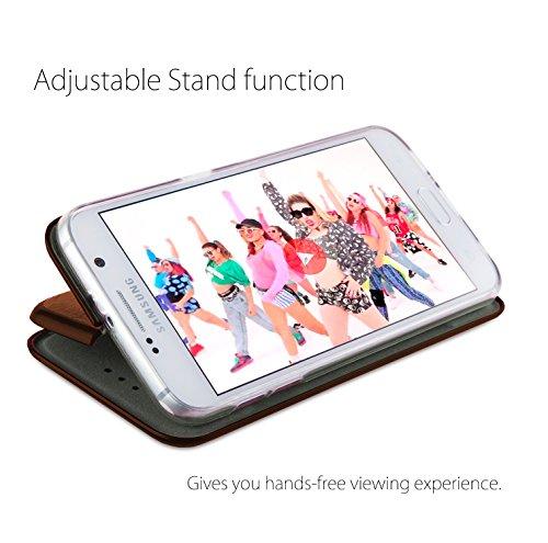 MyGadget Samsung Galaxy S7 Hülle ( 5,1 Zoll ) *ultra dünn* aus Plastik PC in Schutzhülle Cover Case Bumper in Transparent Flip Case Braun