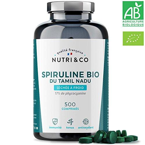 Spiruline Bio AB | 500 Comprimés de 500 mg Purs sans Excipient | 15 à 19% de Phycocyanine | Séchée et Compressée à Froid | Analysée et Conditionnée en France par Nutri&Co