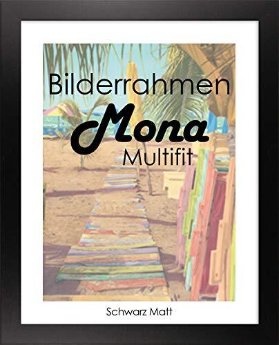Homedeco-24 Bilderrahmen Mona MULTIFIT 80 x 120 cm Farbe Schwarz matt mit weißer Rückwand und Acrylglas klar 1mm (Verglasung Bilderrahmen)