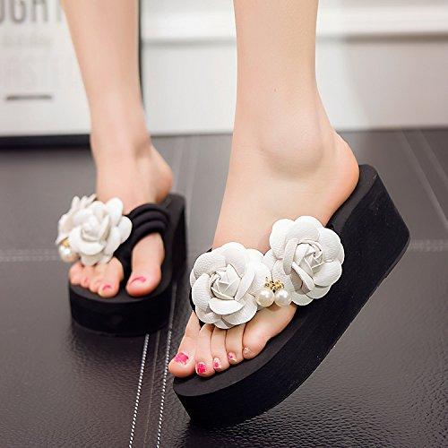 FLYRCX Onorevoli estate fiori fatti a mano ciabatte infradito sandali da spiaggia DIY pantofole c