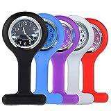 Pure Colors Silicone Infermiera FOB Orologio Spilla Pin-on Spilla, confezione da 5, con batteria supplementare