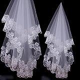 Viskey Bride Wedding Lace Veil, White