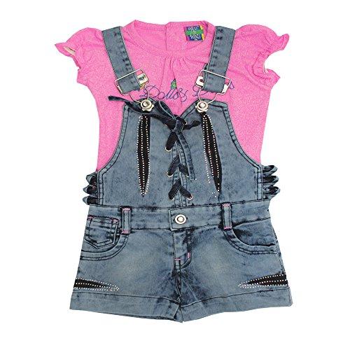 Kiddie Clap Girls' Denim Dungaree Dress With T-Shirt Set (6-12 Months, Pink)