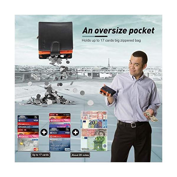 Portafogli Uomo RFID bloccante in pelle con cerniera portamonete e porta banconote e chiusura a bottoni e 17 porta carte… 5 spesavip