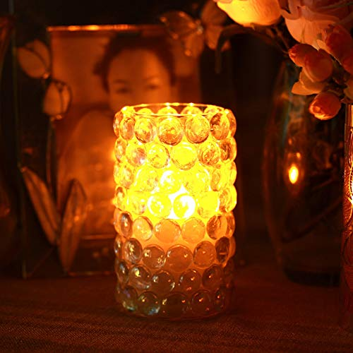 HBLWX Einfache kreative LED Mosaik Glas Kerzenlicht, handgefertigte Glasmalerei Mosaikform, Timer echtes Wachs Säule flammenlose Kerzen Geschenk-Set -
