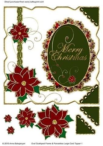 Cadre photo ovale festonné & Poinsettias Grande décoration de cartes