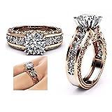Bagues Mode, YUYOUG Princesse Femmes Or Rose Mariage Fiançailles Floral Diamond Cuivre Ring