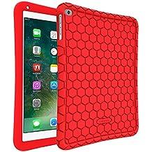 Fintie Nuevo iPad 9.7 2018 / 2017, iPad Air 2, iPad Air Funda - [Honey Comb Series] Case Cover Carcasa de Silicona Antideslizante para Niños a Prueba de Golpes Cubierta Ligera Protectora para Apple iPad 9.7 pulgadas 2018 / 2017, iPad Air 2 1, Rojo