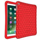 Fintie Silikon Hülle für iPad 9.7 Zoll 2018 2017 / iPad Air 2 / iPad Air - [Bienenstock Serie] Leichte Rutschfeste Stoßfeste Schutzhülle Tasche Case Cover, Rot