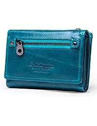 4d2534f213 HeFeng Portafoglio Corto da Donna Portafoglio da 3 Strati in Pelle Portafoglio  Multi-Card Porta