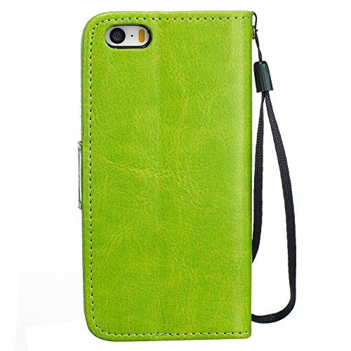 """MOONCASE iPhone 6S Plus Bookstyle Étui Pissenlit Housse en Cuir Case à rabat Coque de protection Portefeuille TPU Case avec Béquille pour iPhone 6 Plus / 6S Plus 5.5"""" Violet Vert"""