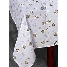 Homescapes Nappe blanche pour Noël de 140 x 230 cm avec motif de flocons de neige fait en pur coton