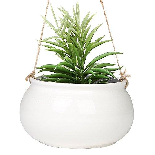 Rund Weiß Keramik zum Aufhängen 17,8cm Blumentopf, mit Jute-Schnur