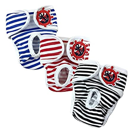 E-Kauf 3er Pack waschbar Schutzhose Hygieneunterhose aus Baumwolle für Hündin (S)