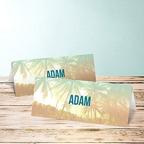 Tischkarten 60 Geburtstag, Palm Beach Birthday 110 Karten, Horizontale Klappkarte 100x38, Blau