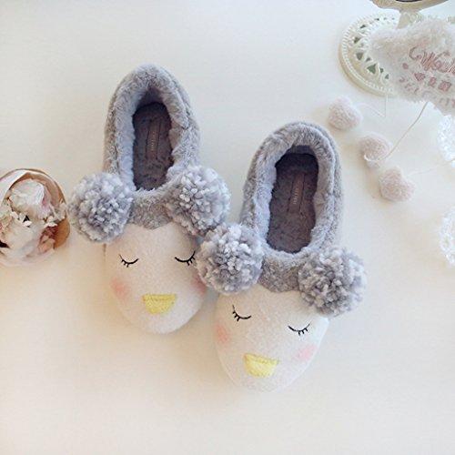 Fortuning's JDS Unisex adulti coppia accogliente vello casa Calzature Amabili Pinguino comodi avvolgere pantofole con le orecchie Ponpon Grigio