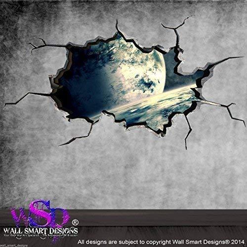 Wall Smart Designs Space Planeten Universe Welt gebrochenen 3D-Art Wand Aufkleber jungen Aufkleber Wandbild 3 (Farbkarte Der Welt)