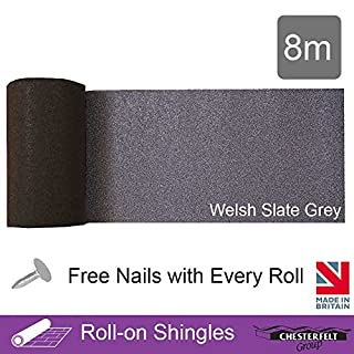 Ashbrook Roofing Chesterfelt Roll-On Shingles Ridge Roll | Shed Felt Shingles | 8m | 2 Colours | Welsh Slate Grey