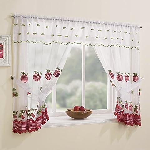Winchester Vichy Rouge Trim Window Lot de logement–Poche/tige sur le dessus, Polyester, Red, 48