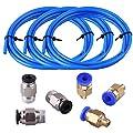 SIQUK 3 Stück PTFE Schlauch Blau Teflonschlauch(1.5 Meter) mit 3 Stück PC4-M6 Pneumatik-anschlussstücke und 3 Stück PC4-M10 Verbinder für 3D-Drucker 1,75 mm Filament