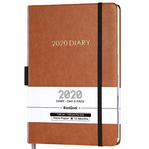 Agenda 2020 Journalier - Agenda Quotidien pour la Productivité de Janvier à Décembre 2020, avec Onglets du Mois, poche Intérieure, à Bandes, 14,3 x 21 cm (BROWN)