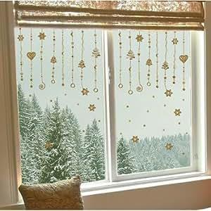 Fensterfolie fensterdeko fenstersticker riesig weihnachtsgirlande gold k che - Decorare finestre per natale ...