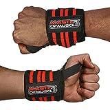 Handgelenkbandage (x2) Master of Muscle - Elastische Handgelenkbandagen zum Schutz und zur Stabilisierung des Handgelenks bei Krafttraining, Bodybuilding, Fitness - Wrist Wraps für Männer - ROT