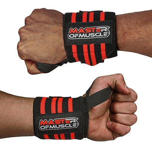 Handgelenkbandagen von Master of Muscle - Elastischer Handgelenkschutz für Krafttraining, Bodybuilding, Fitness. u.v.m - Kraftsport-Zubehör mit Gratis Anleitung - Wrist Wraps für Männer - ROT