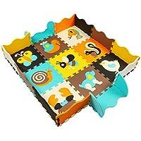 MQIAOHAM 9 Alfombra de Juego con Bordes Kids Safe Baby Playground Soft Acolchado de Suelo para niños Protección EVA Foam Interlocking Tiles Animales no tóxicos P010B3010