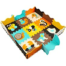 MQIAOHAM 9 Alfombra de Juego con Bordes Kids Safe Baby Playground Soft Acolchado de Suelo para