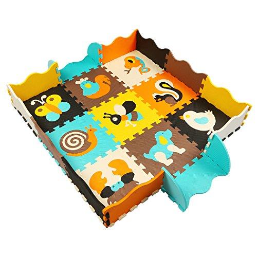 MQIAOHAM 9 Stück Baby Spielmatte mit Zaun, 1cm dick Schaum Bodenfliesen mit Tiermuster, ungiftig Krabbeldecke für Bauch Zeit Kinder Verriegelung Puzzle wasserdicht Spielmatten P010B3010 - Baby Zaun