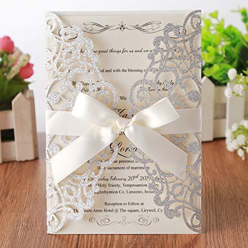 Hosmsua 20x laser cut lace flora matrimonio biglietti d' invito con buste e fiocco per doccia nuziale fidanzamento compleanno festa di laurea 20pcs (sliver glitter)