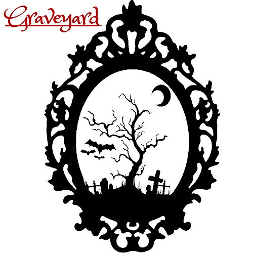 Halloween Gothic Graveyard Cemetry Friedhof Grab Silhouette Sticker Aufkleber Wall Window Home Vinyl Abziehbild Decal