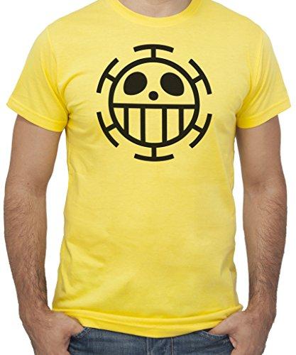 T-shirt ONE PIECE BANDIERA TRAFALGAR Anime e Videogames by New Indastria - Uomo-L-GIALLA