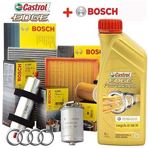 l Kit tagliando Olio CASTROL Edge 5W30 LL03 Professional Titanium Fst 5lt + 4 FILTRI Bosch per A3 1.9 TDI Anno di Costruzione 1996 Fino al 2003 66/74/81/96 KW