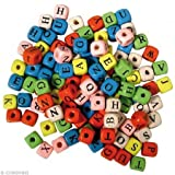 Rayher Hobby 1201849 Holz-Buchstabenwürfel, 10 x 10 mm, SB-Beutel 50 g, gemischt