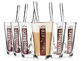 Bluespoon Latte Macchiato Gläser mit Löffeln 6er Set   Füllmenge der Trinkgläser 330 ml   Hochwertige Kaffeegläser für einen einzigartigen Kaffeegenuss