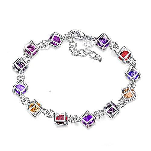 Bvlgari Schwarzem Leder (Kangqifen Schmuck Damen-Armband,925 Silber Farbige Diamanten Armschmuck,Breite 8mm - Länge 21cm)